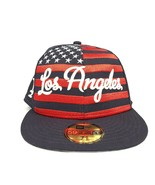 Los Angeles Dodgers American Flag Fitted Hat 7-3/8New Era Baseball Cap LA - $19.79