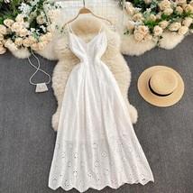 New white cotton lace V neck spaghetti strap long women maxi summer dress - $48.00