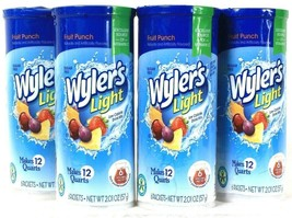 4 Packs Wyler's 2.01 Oz Light Fruit Punch Sugar Free 6 Count Pitcher Pac... - $27.99