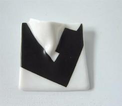 Vintage Black White Porcelain Rosenthal Brooch Pin Modernist Johan Van L... - $24.74