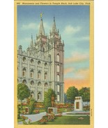 Monuments and Flowers in Temple Block, Salt Lake City, Utah linen Postcard - $3.99