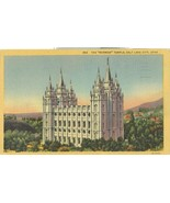 The Mormon Temple, Salt Lake City, 1957 used linen Postcard  - $4.75