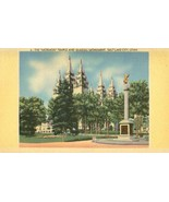 The Mormon Temple and Seagull Monument, Salt Lake, City unused linen Pos... - $3.99