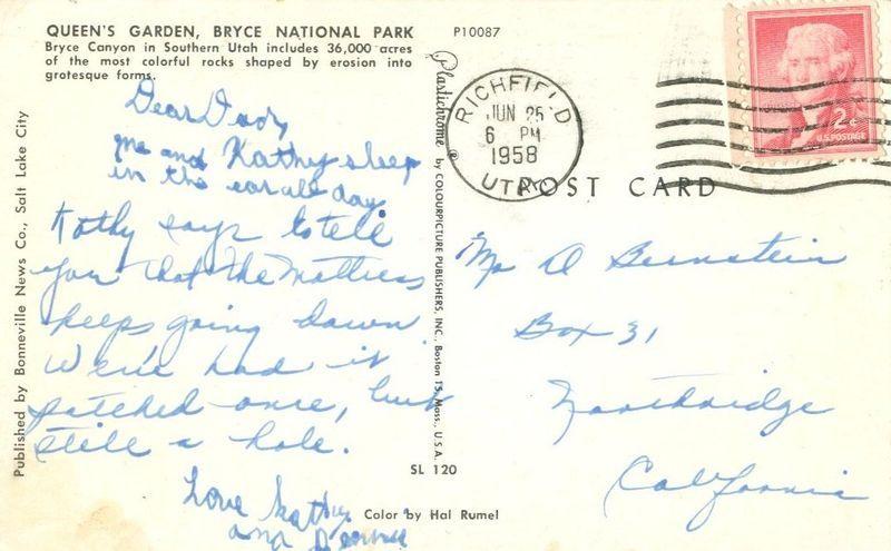 Queen's Garden, Bryce National Park, Utah 1958 used Postcard