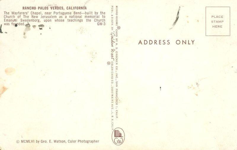 Rancho Palos Verdes, California 1956 unused Postcard