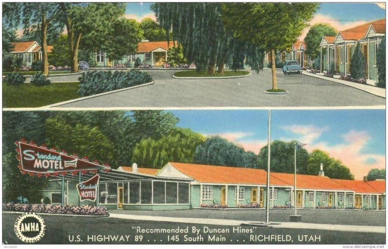 Recommended by Duncan Hines, Standard Motel, Richfield, Utah 1958 used Postcard