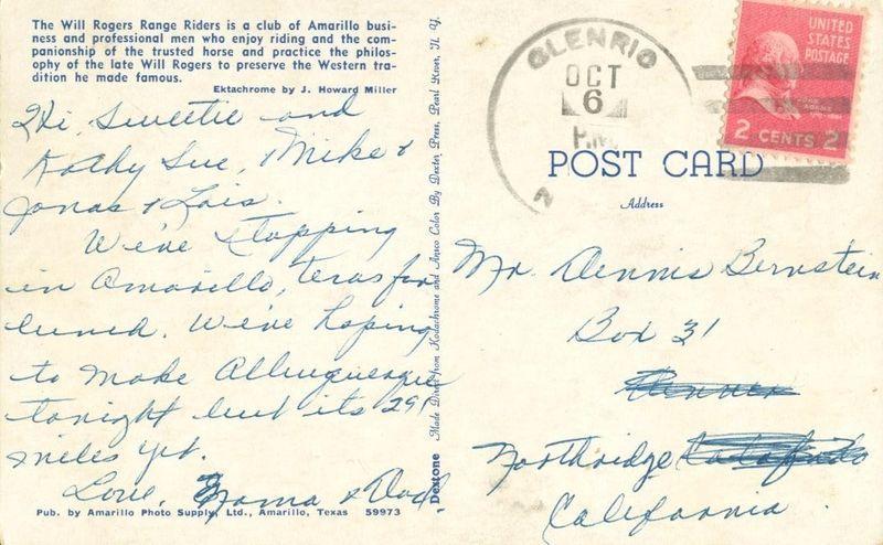 Will Rogers Range Riders, Texas 1950s used Postcard
