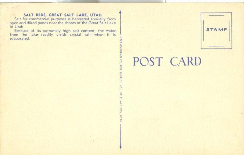 Salt Beds, Great Salt Lake, Utah, unused linen Postcard