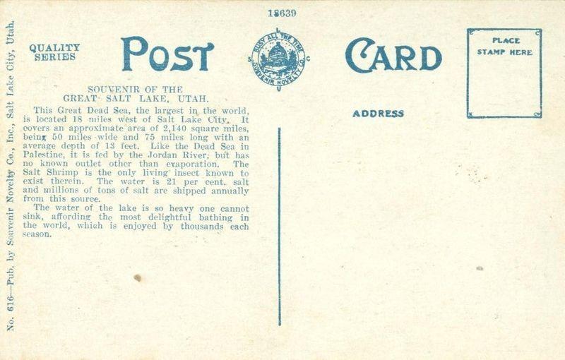 Salt Beds near Salt Lake City, Utah 1910s-1920s unused Postcard