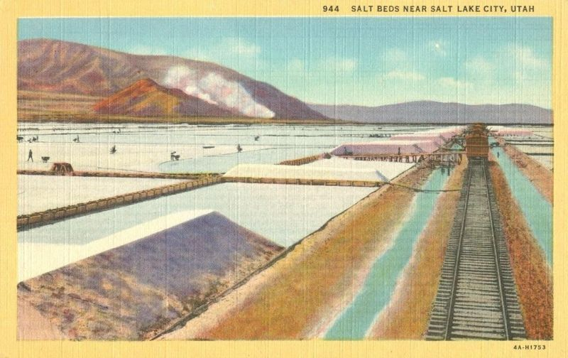 Salt Beds near Salt Lake City, Utah unused linen Postcard