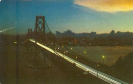 San Francisco Bay Bridge at night, 1954 used Postcard  - $3.50