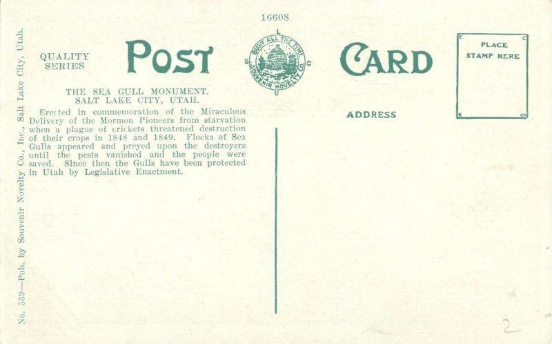 Sea Gull Monument, Temple Grounds, Salt Lake, City early 1900s unused Postcard