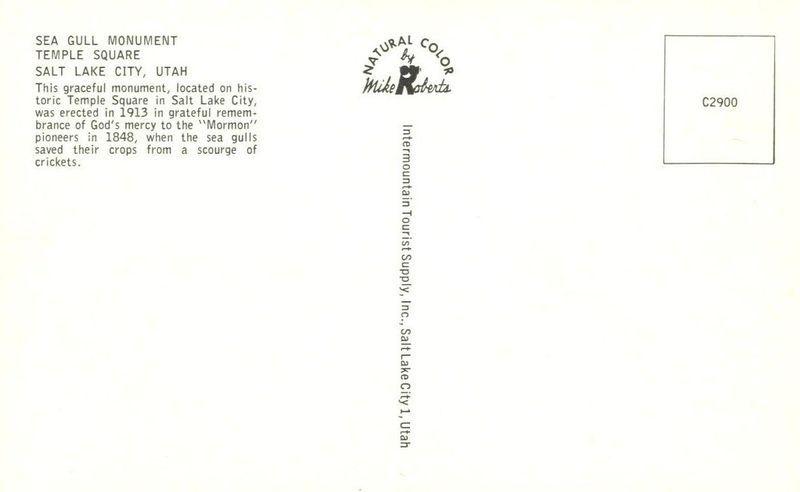 Sea Gull Monument, Temple Square, Salt Lake City, Utah unused Postcard