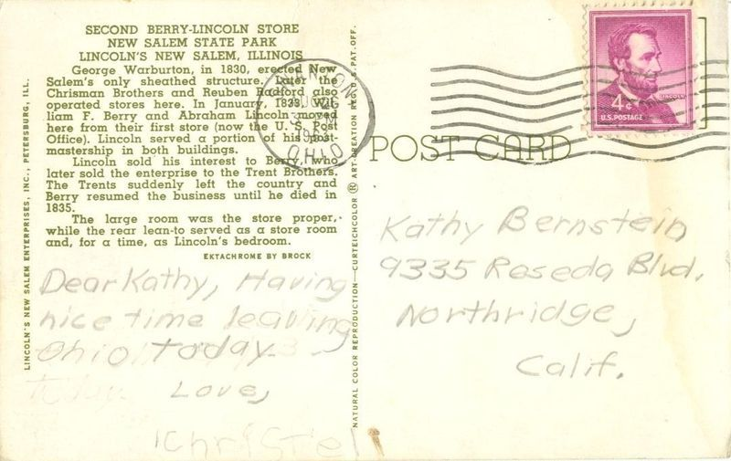 Second Berry Lincoln Store, New Salem State Park, Illinois 1963 used Postcard