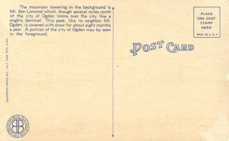 Snow-capped Mt. Ben Lomond near Ogden, Utah unused linen Postcard