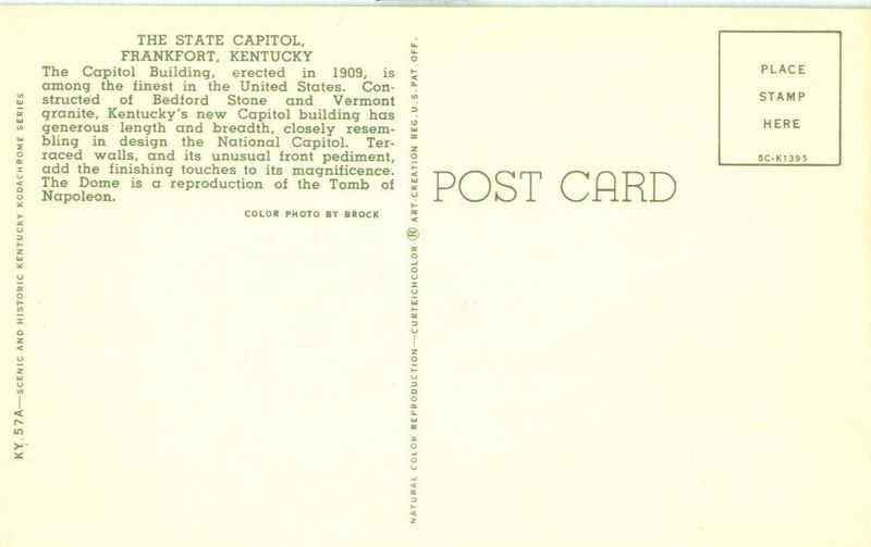 The State Capitol, Frankfort, Kentucky unused Postcard