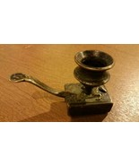 C 1920s Candlestick Candle Matchbox Holder Solid Brass - $69.29