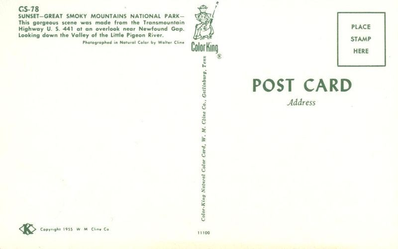 Sunset Great Smoky Mountains National Park, 1955 unused Postcard