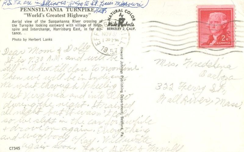 Susquehanna River Bridge, Pennsylvania 1957 used Postcard