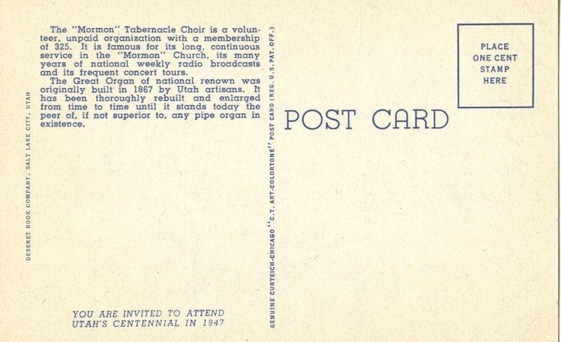 The Tabernacle Choir and Organ, Salt Lake City, Utah 1938 unused linen Postcard