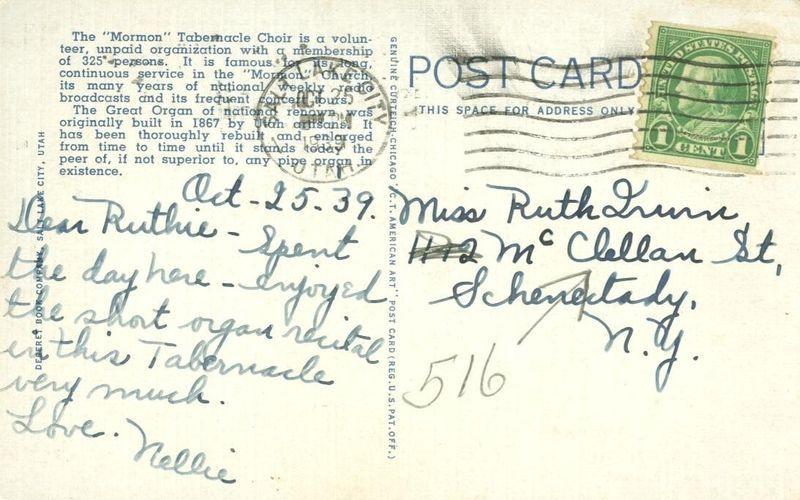The Tabernacle Choir and Organ, Salt Lake City, Utah 1939 used Postcard