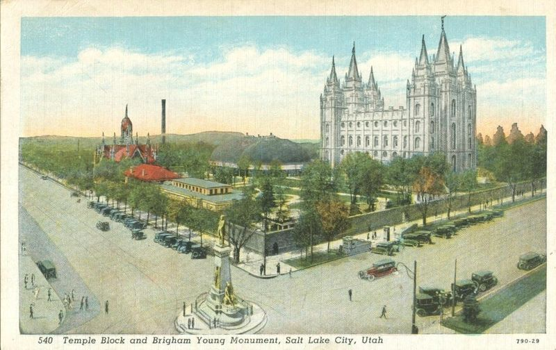 Temple Block and Brigham Young Monument, Salt Lake City, Utah 1910s-1920s