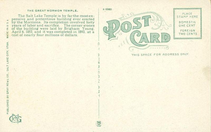 Temple Square, Salt Lake City, Utah 1910s-1920s unused Postcard