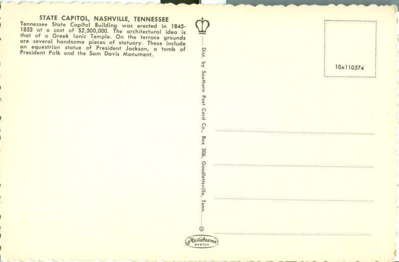 Tennessee State Capitol, Nashville, Tennessee, 1960s unused Postcard