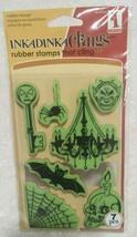 Inkadinkado 7 Halloween Rubber Cling Stamps, Spider Web Bat Skull Key - NEW - $9.95
