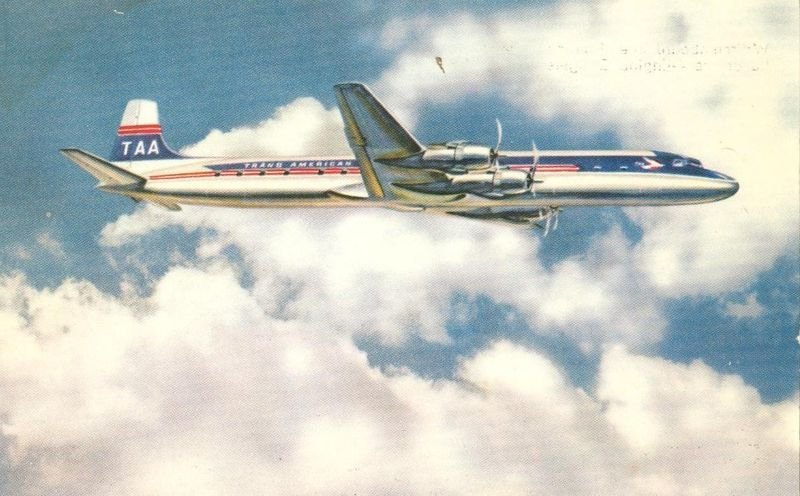 Trans American Luxurious 4 Engine Douglas DC-6B Airliner used Postcard