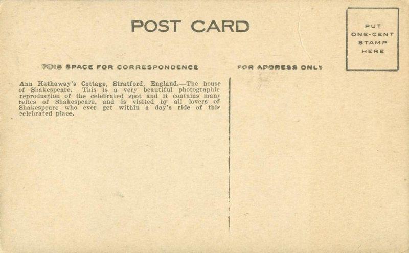 UK, Anne Hathaway's Cottage, Stratford, early 1900s unused Postcard