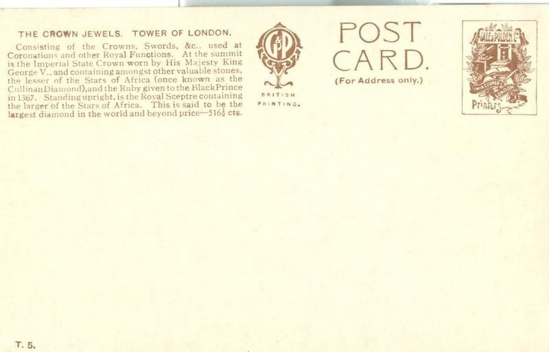 United Kingdom, The Crown Jewels, Tower of London early 1900s unused Postcard