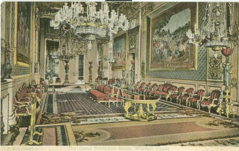 United Kingdom, The Grand Reception Room, Windsor Castle early 1900s postcard