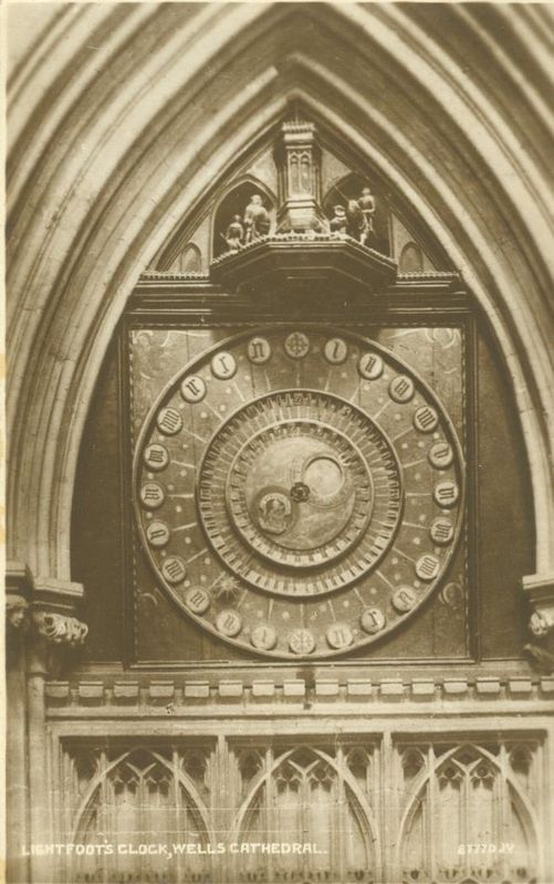 United Kingdom Lightfoot's Clock, Wells Cathedral unused Real Photo Postcard