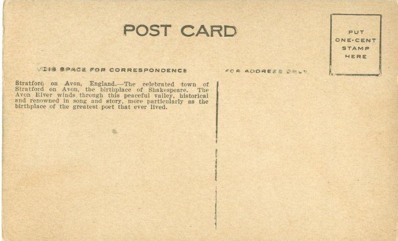 United Kingdom Stratford on Avon, England, early 1900s unused Postcard