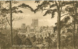 United Kingdom, Wells Cathedral from the Hill, early 1900s unused Postcard  - $4.25