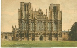 United Kingdom, Wells Cathedral, West Front, early 1900s used Postcard  - $3.50