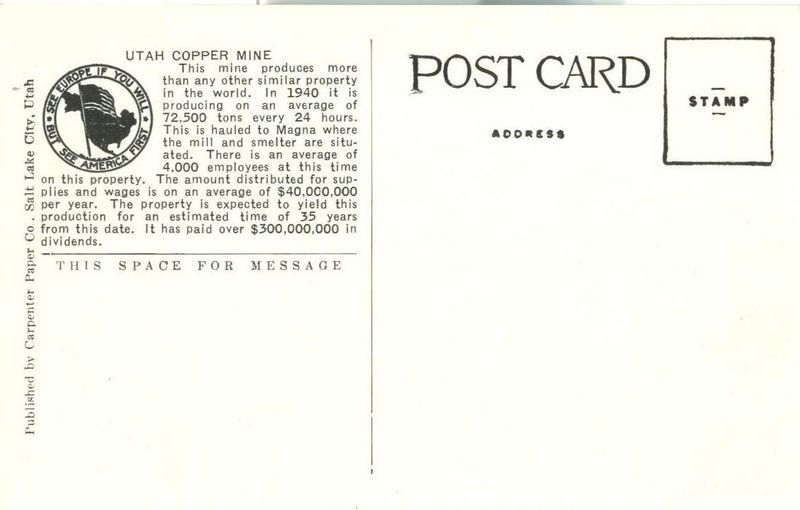 Utah Copper Mine, Bingham Canyon, Utah 1940 unused Postcard