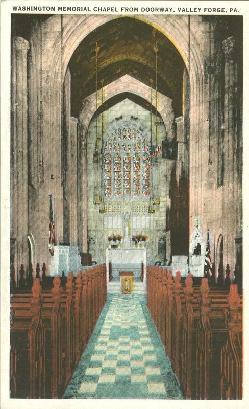 Washington Memorial Chapel from doorway, Valley Forge, Pa, unused 1920s Postcard