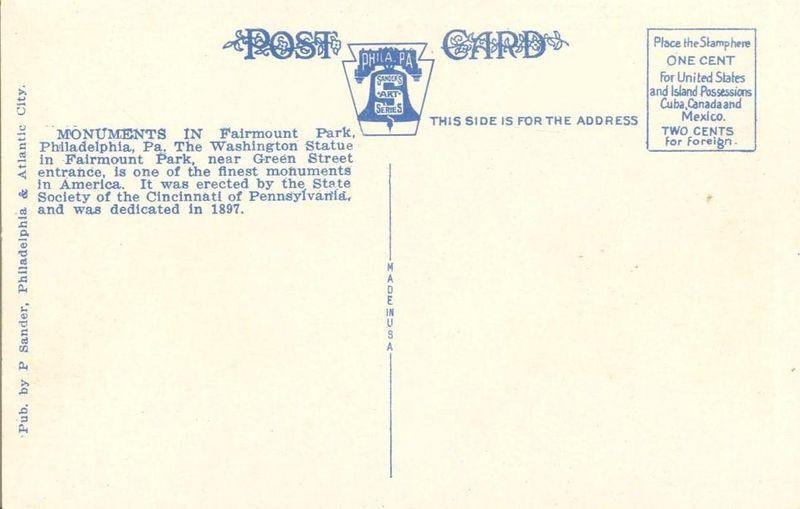 Washington Statue, Fairmount Park, Philadelphia, Pa, 1920s unused Postcard