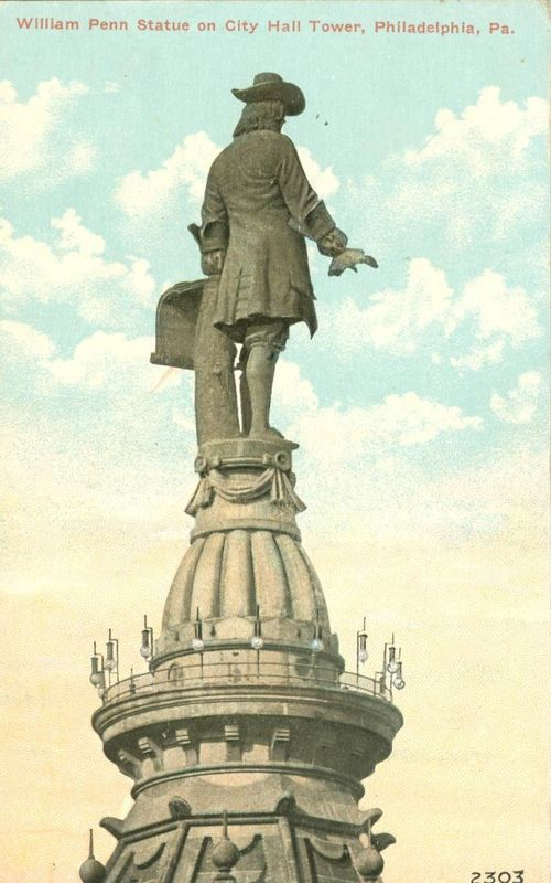 William Penn Statue on City Hall Tower, Philadelphia, Pa, early 1900s postcard