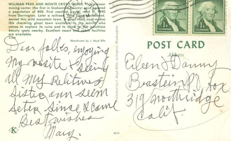 Willman Peak and Monte Cristo, Wash, 1956 used Postcard