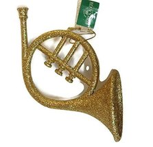Gold Glitter Musical Instrument Ornament (Horn) - $17.50