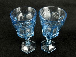 Fostoria Water Goblets, set of 2, Virginia Light Blue,Vintage 1980's by ... - $24.45