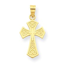 10k Yellow Gold Reversible Cross Charm Pendant for Necklace - $51.81