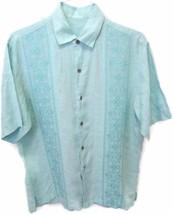 Tommy Bahama Hawaiian Shirt Linen Medium Light Blue Embroidered Short Sleeve M - $11.83