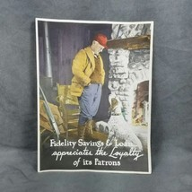 Fidelity Savings Loan Bank Paper Advertising Picture HUNTER Dog Gun  - $13.99