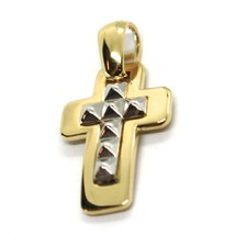 """SOLID 18K YELLOW & WHITE GOLD DOUBLE SQUARE CROSS, 0.8"""",  SMOOTH, ITALY MADE    image 2"""