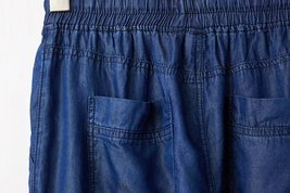 Dark Blue Denim CROP PANTS Drawstring Elastic Waisted Crop HAREM PANTS Trousers image 8