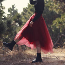 Women Burgundy Long Tulle Skirt A-line Irregular Long Tutu Party Skirt Plus Size image 6